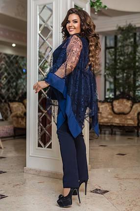Жіночий святковий брючний костюм батал, 50-52, фото 2