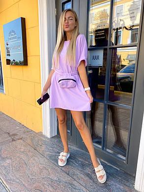 Жіноча літня коротка сукня з поясом, 42-46, фото 2