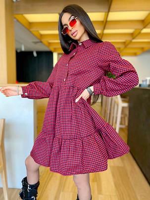 Жіноча вільна літня сукня в клітинку, 42-46, фото 2
