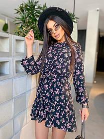 Жіноча коротка літня сукня в квіточку, 42-46