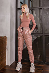 Жіночі бежеві шкіряні брюки, 42-44