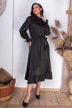 Жіноча шовкова сукня міді батал, 46-48, фото 2
