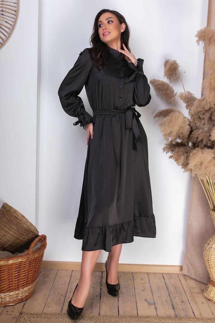 Жіноча шовкова сукня міді батал, 46-48