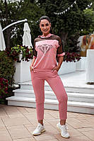 Жіночий літній спортивний костюм зі стразами, 48-50