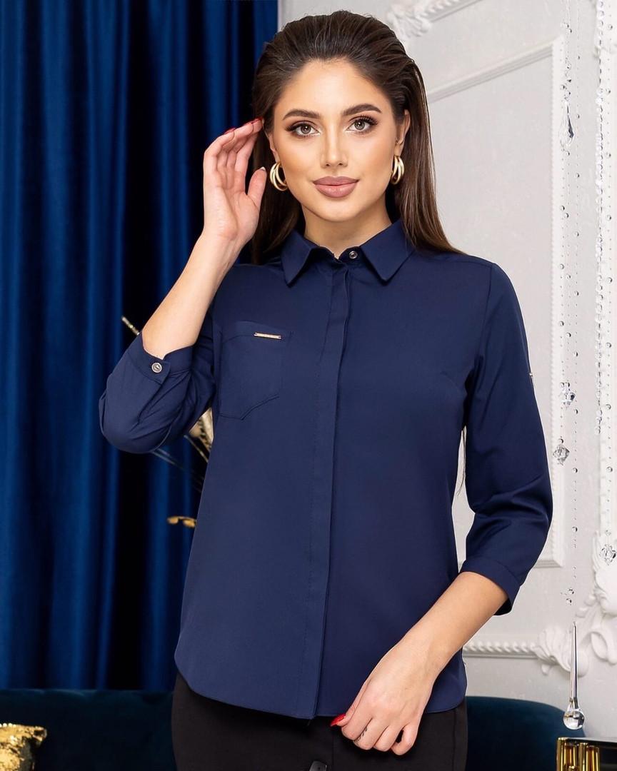 Жіноча синя сорочка, 42