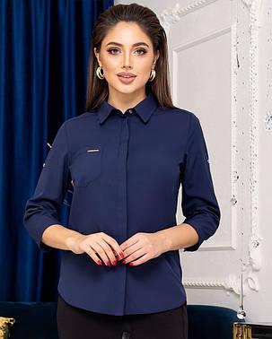 Жіноча синя сорочка, 42, фото 2