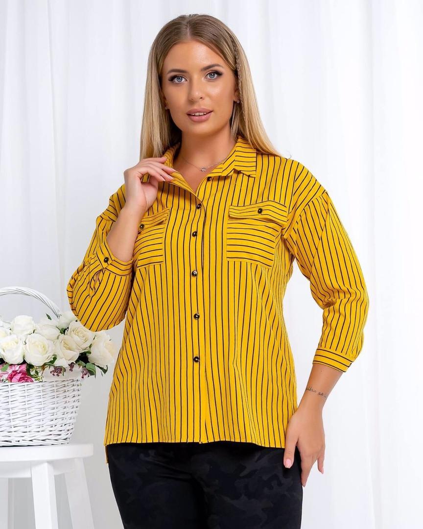 Жіноча гірчічна сорочка в смужку, 46