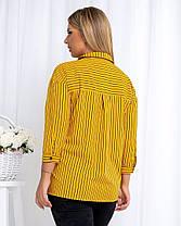 Жіноча гірчічна сорочка в смужку, 46, фото 3