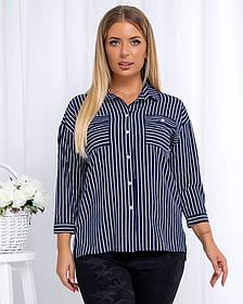 Жіноча сорочка в смужку, 46