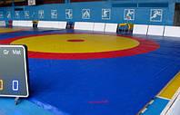 Покрытие трехцветное ковра для борьбы Boyko из ткани ПВХ с подворотом под маты (конверт)10,6х10,6