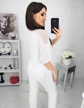 Жіноча біла блуза з мереживом, 42, фото 2