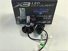 Светодиодные лампы для авто Turbo LED X3 H3, 6500K 50W, ближний/дальний, Автолампы в Украине
