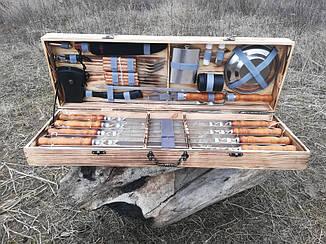 """Набор из 8 шампуров для мяса и люля-кебаб """"Master"""" (730х15х3 мм) + комплект аксессуаров в деревянном кейсе"""