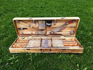 """Набор из 6 шампуров для мяса и люля-кебаб """"Master"""" (730х15х3 мм) + комплект аксессуаров в деревянном кейсе"""