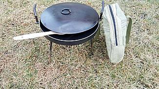 Сковорода 30 см из диска бороны на ножках с крышкой и чехлом