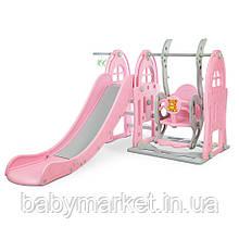 Дитяча гірка-гойдалка Bambi WM19017-8 (grey/pink)