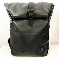 Рюкзак ролл-топ жіночий / чоловічий. З еко-шкіри. З секцією для ноутбука. Модель: 9741. Колір: чорний