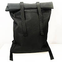 Рюкзак ролл-топ з тканини. Колір чорний