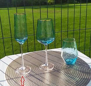 """Набор бокалов 4 шт для шампанского """"Голубая волна"""", 275 мл, ML01"""