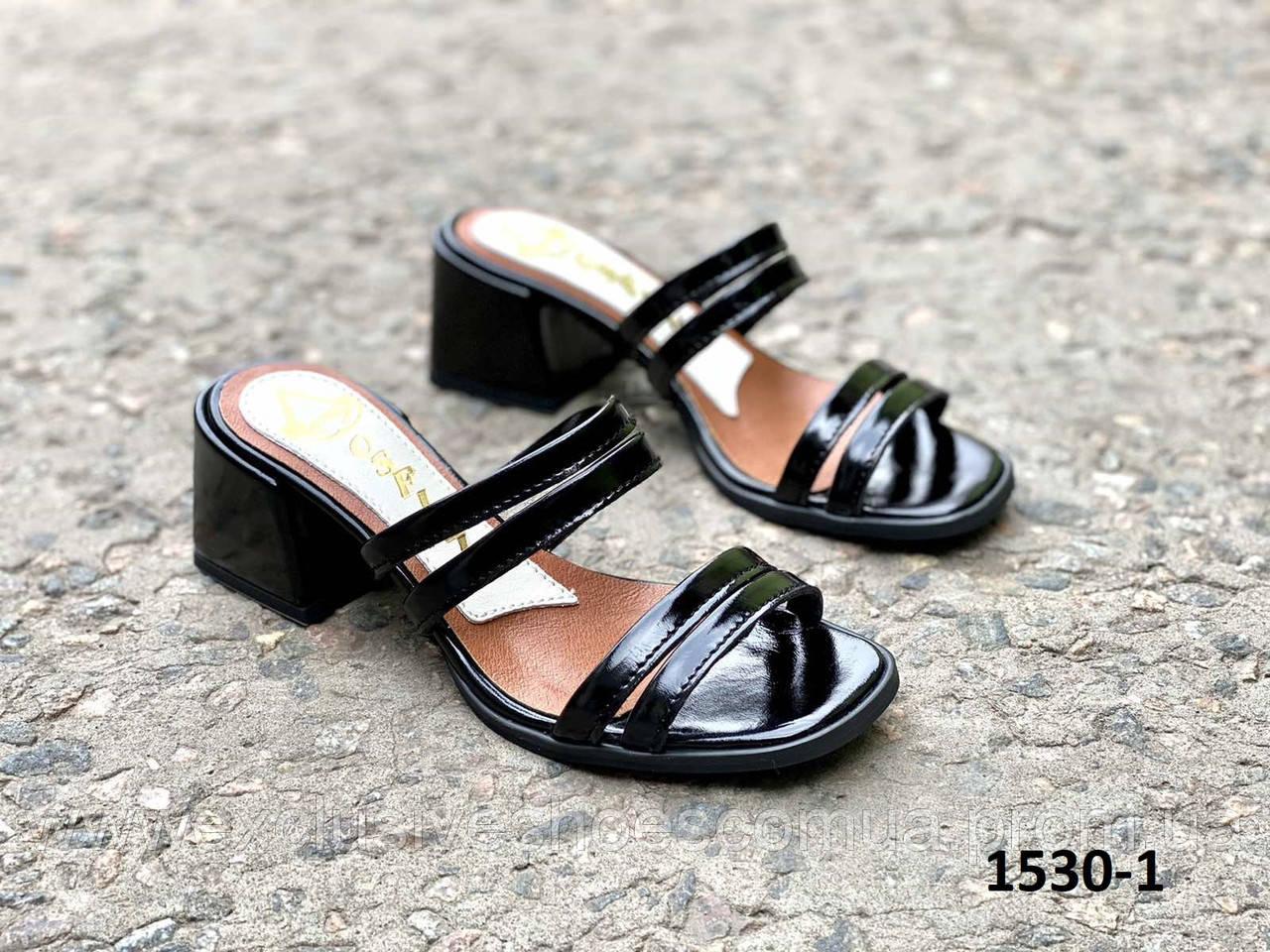 Сабо женские кожаные черные на каблуке