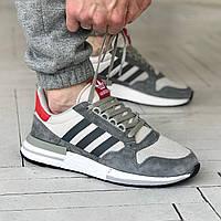 Кроссовки мужские женские Adidas ZX500 gray / Адидас зх500 серые / адидаси летние зх 500 кросовки
