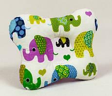 """Ортопедична подушка для немовлят BabySoon """"Слоники"""" 22 х 26 см з наповнювачем вищого сорту"""