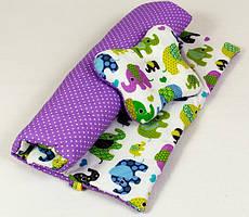 Комплект в коляску річний BabySoon Слоники на бузковому ковдру 65 х 75 см подушка 22 х 26 см бузковий (071)