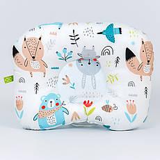 """Дитяча ортопедична подушка BabySoon """"Лісові звірята"""" колір блакитний 22х2 см"""