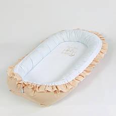 Кокон – позіционер з двостороннім непромокальним матрацом і ортопедичною подушкою BabySoon Капучіно