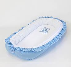 Кокон – позіционер з двостороннім непромокальним матрацом і ортопедичною подушкою BabySoon Блакитний