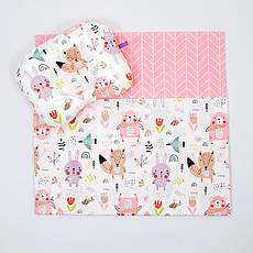 """Річний комплект в коляску BabySoon """"Лісові жителі"""" ковдра 65 х 75 см подушка 22 х 26 см колір рожевий"""