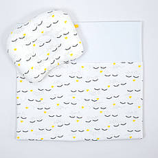 """Річний комплект в коляску BabySoon """"Вії"""" ковдра 65 х 75 см подушка 22 х 26 см бірюзовий (067)"""