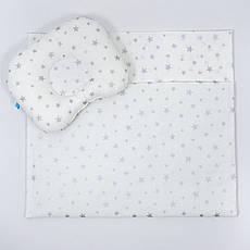 """Річний комплект в коляску BabySoon """"Срібні зірки"""" ковдра 65 х 75 см подушка 22 х 26 см колір білий"""