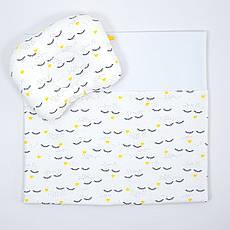 """Комплект в коляску BabySoon """"Вії"""" ковдра 65 х 75 см подушка 22 х 26 см колір білий"""