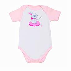 """Дитячий боді - футболка BabySoon """"Зайчик на хмаринці"""" колір рожевий 62cm"""