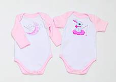 """Набір дитячих боді BabySoon """"Зайчики"""" колір рожевий 62cm"""