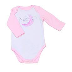 """Дитячий боді з довгим рукавом BabySoon """"Зайчик на місяці"""" колір рожевий 62cm"""