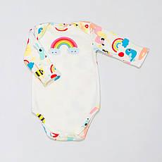 """Дитячий з довгим рукавом BabySoon """"Веселка"""" різнобарвний на молочному тлі 62cm"""