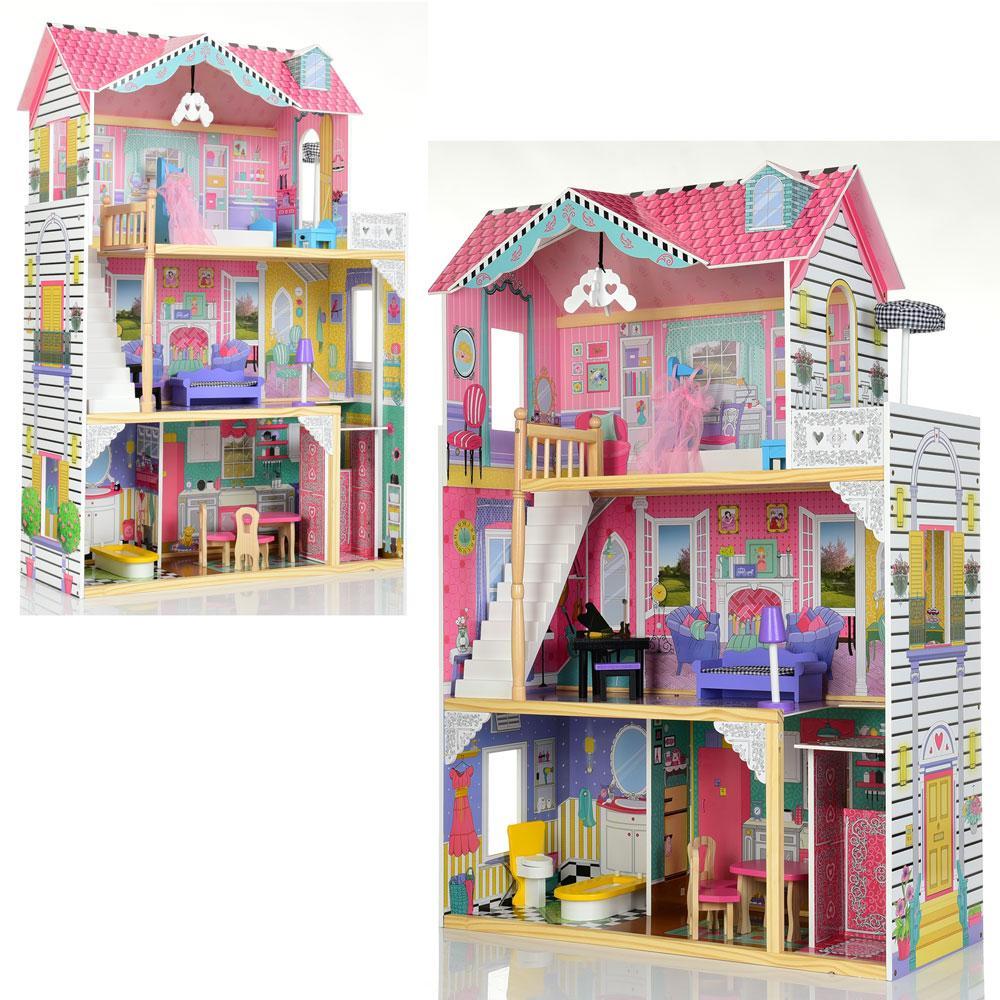 *Дерев'яний будиночок з меблями для ляльок (аналог KidKraft) арт. 2673