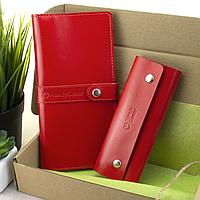 Подарочный женский набор HandyCover №51: Кошелек + ключница (красный), фото 1