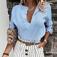 Женская льняная летняя рубашка. Размер: 42-46 Цвета: голубой