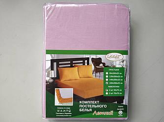 Постельное белье Летнее ранфорс простынь на резинке с наволочками Сиреневый Лелека Текстиль