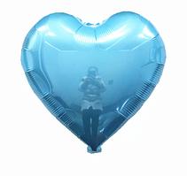 Куля фольгований серце БЛАКИТНЕ, 9 дюймів (23 см)