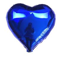 Шар фольгированный сердце СИНЕЕ, 9 дюймов (23 см)