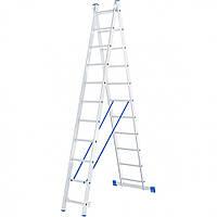 Лестница 2 х 11 ступеней алюминиевая двухсекционная Сибртех 97911