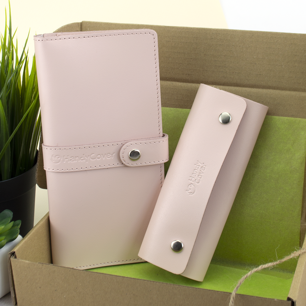 Подарочный женский набор HandyCover №51: Кошелек + ключница (пудровый)