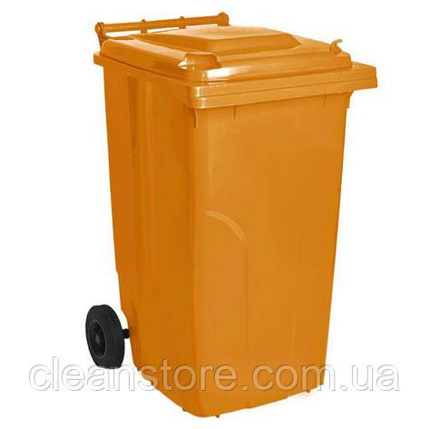 Бак для мусора на колесах с ручкой 120 л оранжевый, фото 2