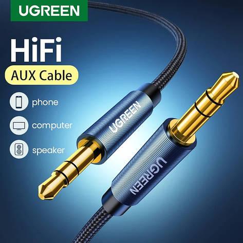 Оригінальний аудіо кабель Ugreen AV112 AUX Jack 3.5 - Jack 3.5 1 метр Blue, фото 2