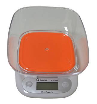 Весы кухонные Domotec ACS SH-125 до 7 кг с чашей, Orange