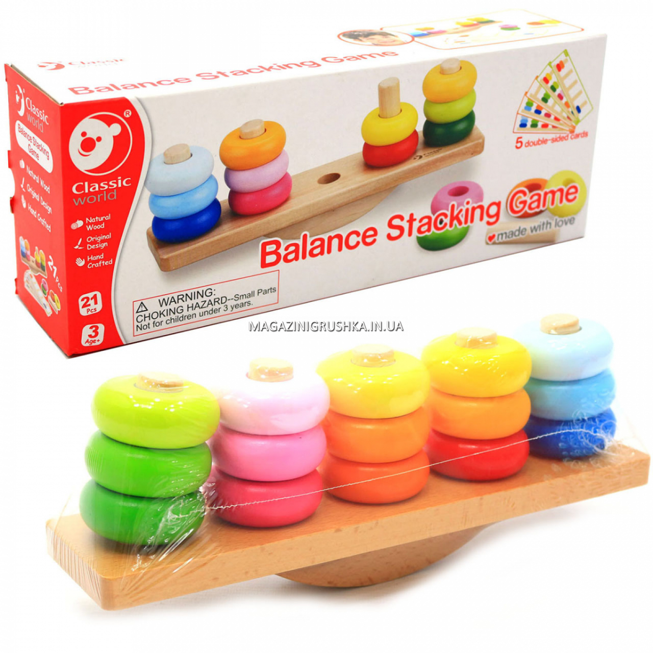 Деревянная развивающая игрушка Пирамидка-балансир (3537)